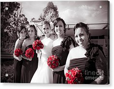 Lineup Of Bride And Bridesmaides Acrylic Print by Jorgo Photography - Wall Art Gallery