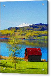 Little Barn By The Lake Acrylic Print by Lenore Senior and Constance Widen