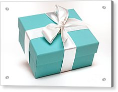 Little Blue Gift Box Acrylic Print by Amy Cicconi
