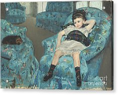 Little Girl In A Blue Armchair Acrylic Print by Celestial Images