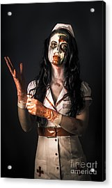 Living Dead Health Professional Putting On Gloves Acrylic Print by Jorgo Photography - Wall Art Gallery