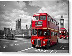 London - Houses Of Parliament And Red Buses Acrylic Print