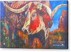 Longhorn Bull Business Acrylic Print by Karen Kennedy Chatham