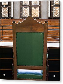 Looking Into Courtroom From Behind Judges Chair Acrylic Print by Ken Biggs