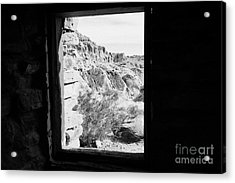 Looking Out Through Window From Interior Of Historic Stone Cabin Built By The Civilian Conservation  Acrylic Print by Joe Fox