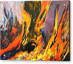 Acrylic Print featuring the painting Looks Like Hell by AnnE Dentler