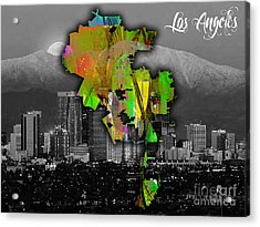 Los Angeles Map And Skyline Watercolor Acrylic Print by Marvin Blaine