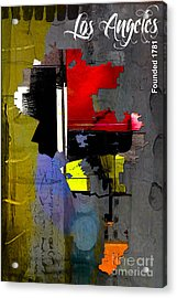 Los Angeles Map Watercolor Acrylic Print by Marvin Blaine