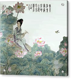 Acrylic Print featuring the photograph Lotus Pond by Yufeng Wang