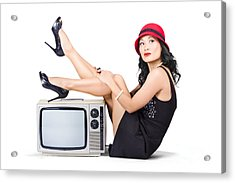 Lovely Asian Pinup Girl Posing On Vintage Tv Set Acrylic Print