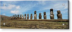 Low Angle View Of Moai Statues Acrylic Print