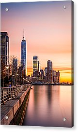 Lower Manhattan At Sunset Acrylic Print