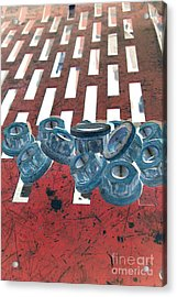 Lug Nuts On Grate Vertical Acrylic Print by Heather Kirk