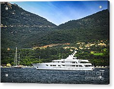 Luxury Yacht At The Coast Of French Riviera Acrylic Print by Elena Elisseeva