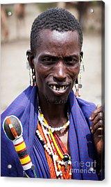 Maasai Man Portrait In Tanzania Acrylic Print by Michal Bednarek