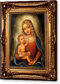 Acrylic Print featuring the painting Madonna Beata by Ananda Vdovic