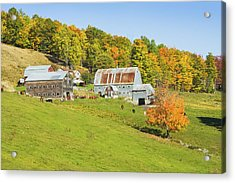 Maine Farm On Side Of Hill In Autumn Acrylic Print by Keith Webber Jr