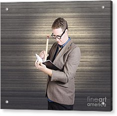 Male Administration Clerk Writing Diary Notes Acrylic Print by Jorgo Photography - Wall Art Gallery