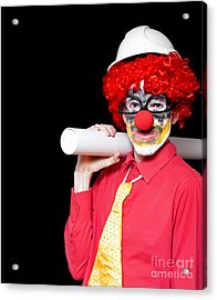 Male Architect Clown Holding Bad Construction Plan Acrylic Print