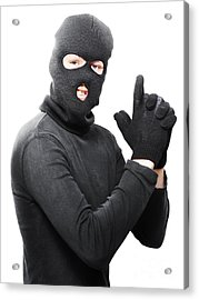 Male Criminal In Mask Making A Hand Gun Gesture Acrylic Print