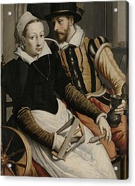 Man And Woman At A Spinning Wheel Acrylic Print by Pieter Pietersz