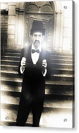 Man Holding Vintage Gold Picture Frame Acrylic Print