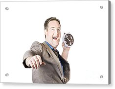 Man Throwing Time Out Window With Chucking Clock Acrylic Print by Jorgo Photography - Wall Art Gallery