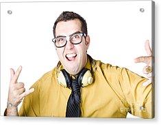 Man With Headphones Acrylic Print by Jorgo Photography - Wall Art Gallery