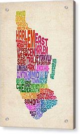 Manhattan New York Typography Text Map Acrylic Print by Michael Tompsett