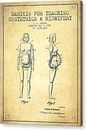 Manikin For Teaching Obstetrics And Midwifery Patent From 1951 - Acrylic Print by Aged Pixel