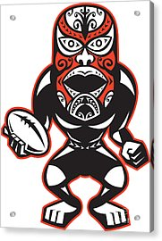 Maori Mask Rugby Player Standing With Ball Acrylic Print