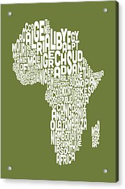 Map Of Africa Map Text Art Acrylic Print