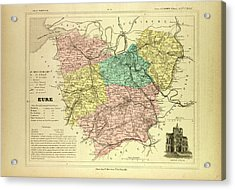 Map Of Eure France Acrylic Print by French School
