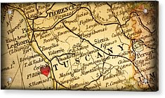 Map Of Florence Tuscany Italy Europe In A Antique Distressed Vin Acrylic Print by ELITE IMAGE photography By Chad McDermott
