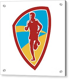 Marathon Runner Shield Retro Acrylic Print by Aloysius Patrimonio