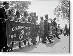 Marchers Carrying Labor Union Banners Acrylic Print
