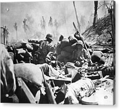 Marines Fight At Tarawa Acrylic Print by Underwood Archives