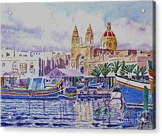 Marsaxlokk Malta Acrylic Print by Godwin Cassar