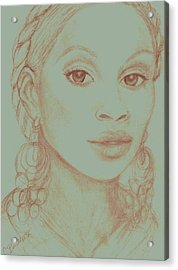 Acrylic Print featuring the drawing Mary J Blige by Christy Saunders Church