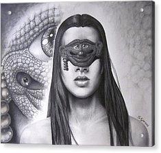 Masked Beauty Acrylic Print by Geni Gorani