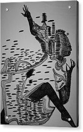 Acrylic Print featuring the drawing Mbakumba Dance - Zimbabwe by Gloria Ssali