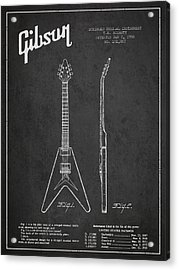 Mccarty Gibson Electric Guitar Patent Drawing From 1958 - Dark Acrylic Print by Aged Pixel