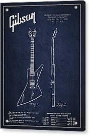 Mccarty Gibson Electrical Guitar Patent Drawing From 1958 - Navy Blue Acrylic Print