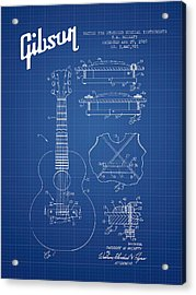 Mccarty Gibson Stringed Instrument Patent Drawing From 1969 - Bl Acrylic Print by Aged Pixel