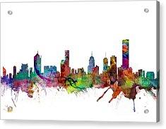 Melbourne Skyline Acrylic Print by Michael Tompsett