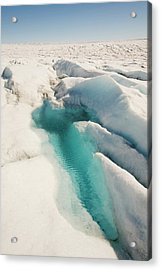 Melt Water On The Greenland Ice Sheet Acrylic Print