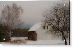 Acrylic Print featuring the photograph Melvin Village Barn In Winter by Brenda Jacobs