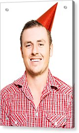 Merry Young Man In A Party Hat Acrylic Print