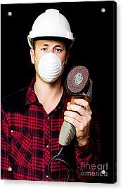 Metal Fabrication Workman With Rotary Disc Sander Acrylic Print