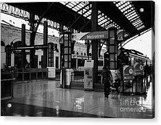 metrotren platforms in Santiago central railway station Chile Acrylic Print by Joe Fox